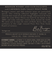 2018 Beringer Winery Exclusive Pinot Noir Back Label, image 3