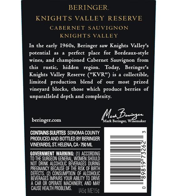 2017 Beringer Knights Valley Cabernet Sauvignon Back Label