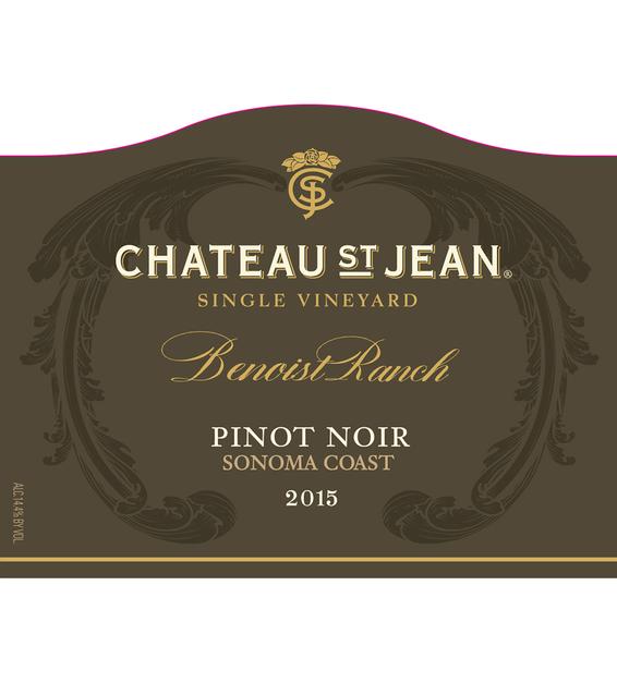 2015 Chateau St. Jean Grace Benoist Ranch Sonoma Coast Pinot Noir Front Label