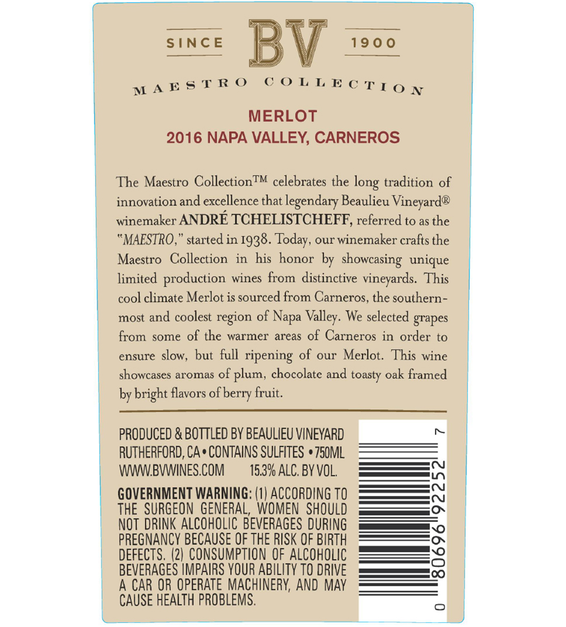 2016 Beaulieu Vineyard Maestro Carneros Merlot Back Label
