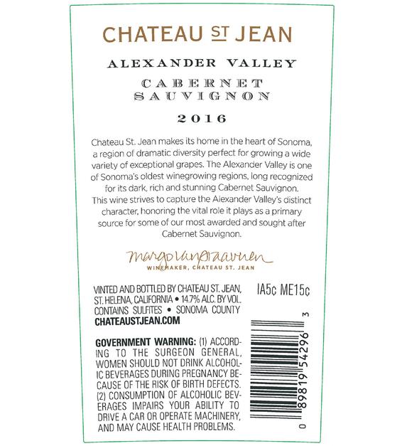 2016 Chateau St. Jean Alexander Valley Cabernet Sauvignon Back Label