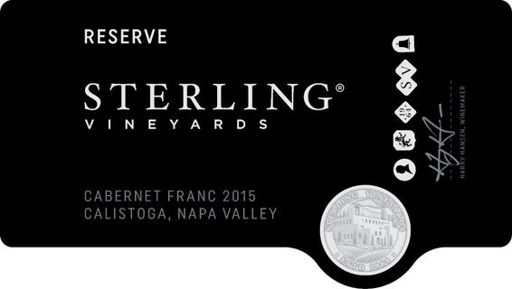 2015 Sterling Vineyards Reserve Cabernet Franc Front Label