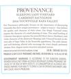 2016 Provenance Vineyards Sleeping Lady Vineyard Yountville Cabernet Sauvignon Back Label, image 3