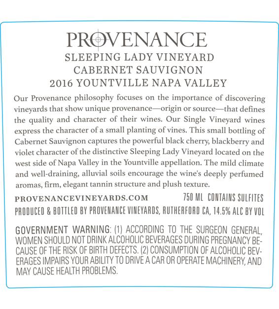 2016 Provenance Vineyards Sleeping Lady Vineyard Yountville Cabernet Sauvignon Back Label