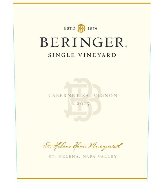 2015 Beringer Saint Helena Home Vineyard Saint Helena Cabernet Sauvignon Front Label