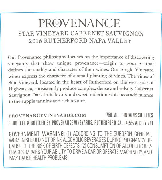 2016 Provenance Vineyards Star Vineyard Rutherford Cabernet Sauvignon Back Label