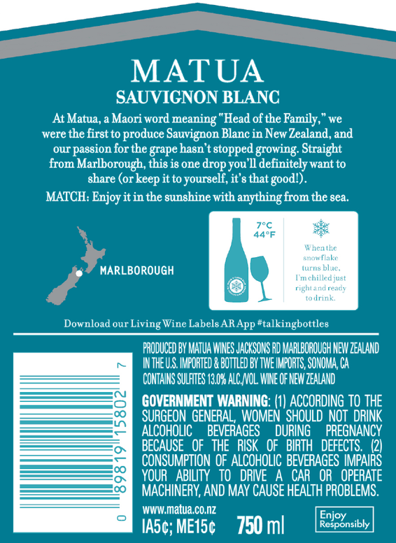 2019 Matua Marlborough Sauvignon Blanc Back Label