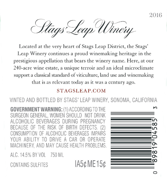 2016 Stags' Leap Napa Valley Petite Sirah Back Label