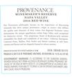 2016 Provenance Vineyards Winemakers Reserve Napa Valley Red Blend Back Label, image 3