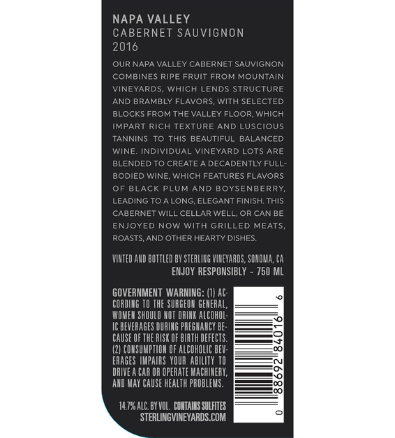 2016 Sterling Vineyards Napa Valley Cabernet Sauvignon Back Label