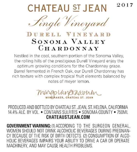 2017 Chateau St. Jean Durell Vineyard Sonoma Valley Chardonnay Back Label