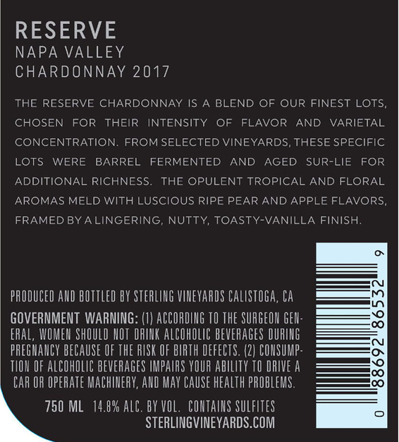 2017 Sterling Vineyards Reserve Napa Valley Chardonnay Back Label