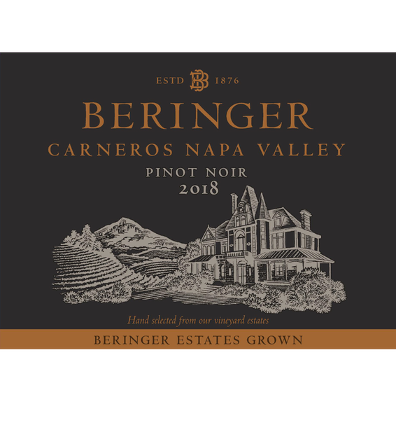 2018 Beringer Winery Exclusive Pinot Noir Front Label