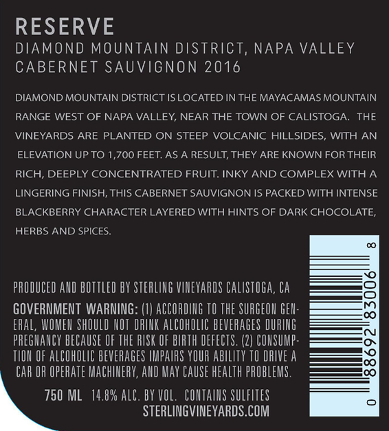 2016 Sterling Vineyards Diamond Mountain District Napa Valley Cabernet Sauvignon Back Label