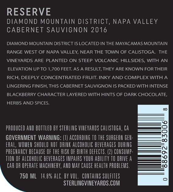 2016 Sterling Vineyards Diamond Mountain District Napa Valley Cabernet Sauvignon Back Label