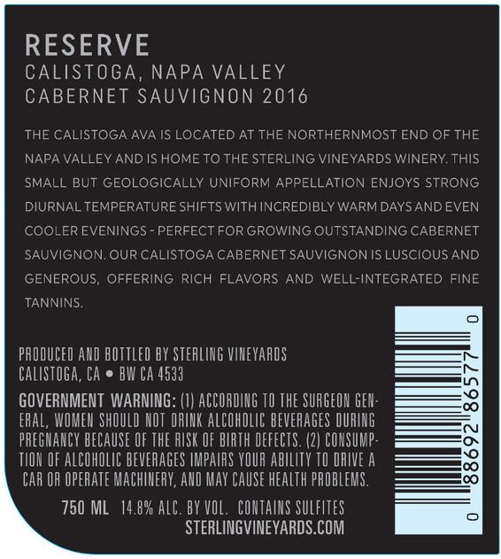 2016 Sterling Vineyards Reserve Cabernet Sauvignon