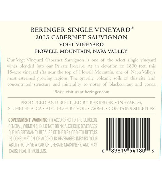 2015 Beringer Vogt Vineyard Howell Mountain Cabernet Sauvignon Back Label