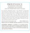 2016 Provenance Vineyards Wildwood Vineyard Rutherford Cabernet Sauvignon Back Label, image 3