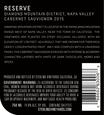 2015 Sterling Vineyards Diamond Mountain District Napa Valley Cabernet Sauvignon Back Label, image 2