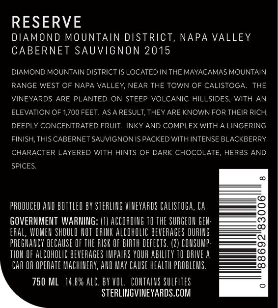 2015 Sterling Vineyards Diamond Mountain District Napa Valley Cabernet Sauvignon Back Label