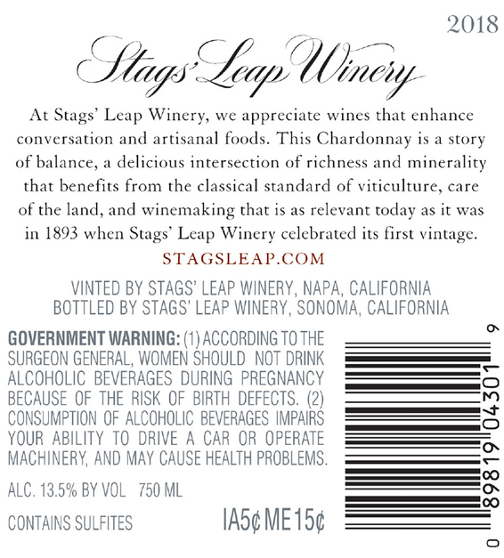 2018 Stags' Leap Napa Valley Chardonnay Back Label