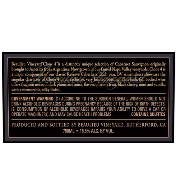 2015 Beaulieu Vineyard Reserve Clone 4 Rutherford Cabernet Sauvignon Back Label