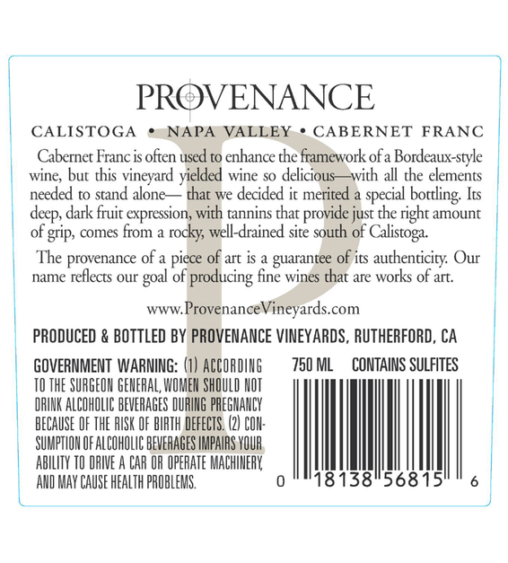 2015 Provenance Vineyards Napa Valley Cabernet Franc Back Label